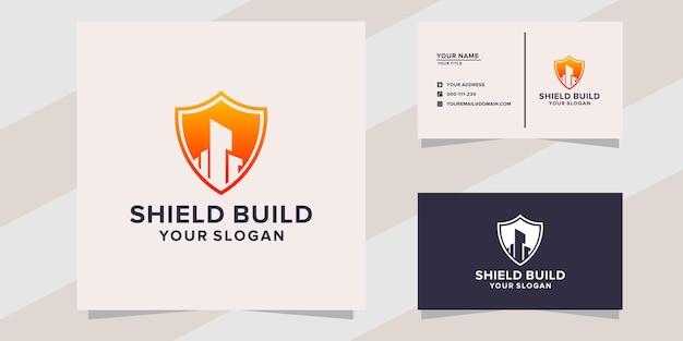 Logotipo e cartão de visita do shield build