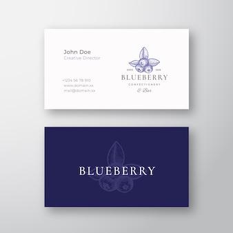 Logotipo e cartão de visita elegantes abstratos de confeitaria de mirtilo