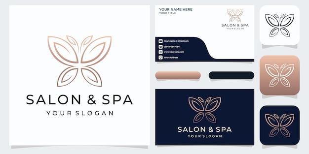 Logotipo e cartão de visita em formato minimalista de borboleta