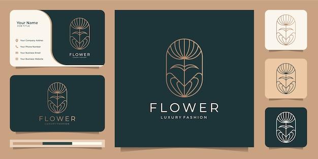 Logotipo e cartão de visita luxuoso da flor abstrata minimalista.