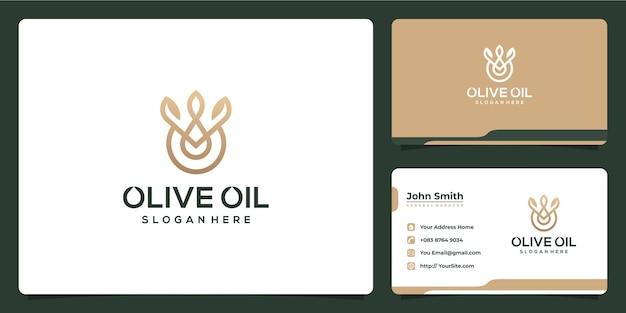 Logotipo e cartão de visita luxuosos do azeite de oliva