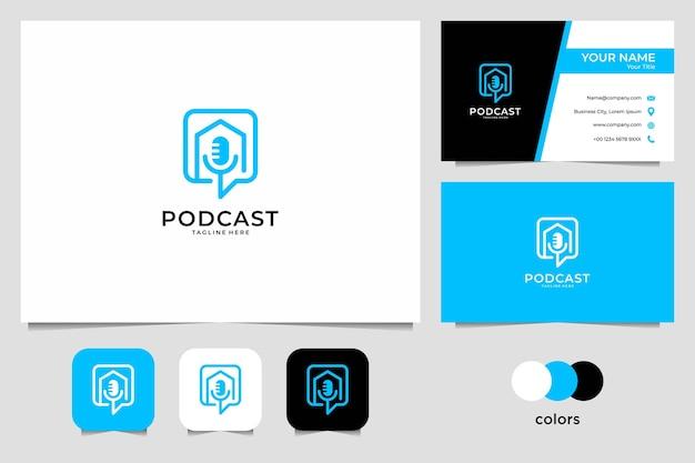 Logotipo e cartão de visita modernos da linha de arte de podcast
