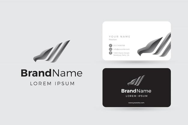 Logotipo e cartões de visita da águia de prata