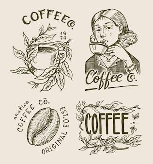 Logotipo e emblema da cafeteria