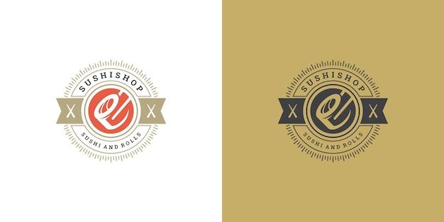 Logotipo e emblema do sushi restaurante de comida japonesa