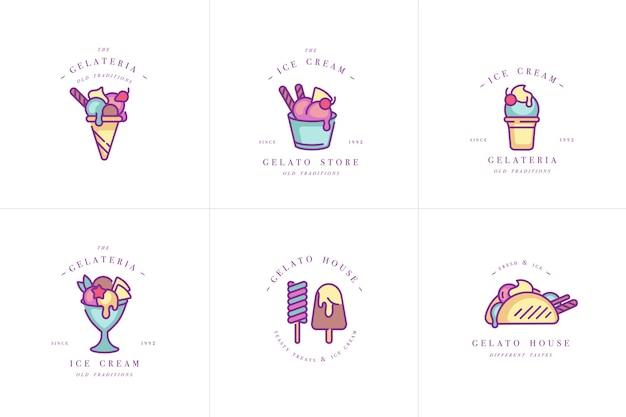 Logotipo e emblemas de modelos coloridos de cenografia - sorvete e gelato. ícones de sorvete de diferença. logotipos em estilo linear moderno, isolado no fundo branco.
