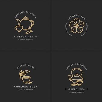 Logotipo e emblemas de modelos dourados de cenografia - ervas e chás orgânicos. ícone de chás diferentes - jasmim, preto, verde e oolong. logotipos em estilo linear moderno, isolado no fundo branco.