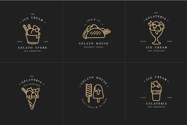 Logotipo e emblemas de modelos dourados de cenografia - sorvete e gelato. moderno estilo linear isolado.