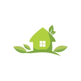 Logotipo e ícone de casa natural