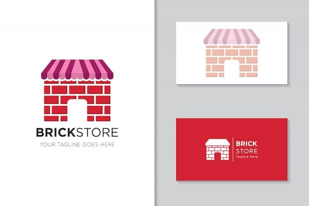 Logotipo e ícone de loja de tijolo