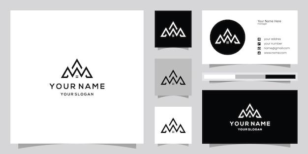 Logotipo e modelo de cartão de negócios de imóveis na mountains