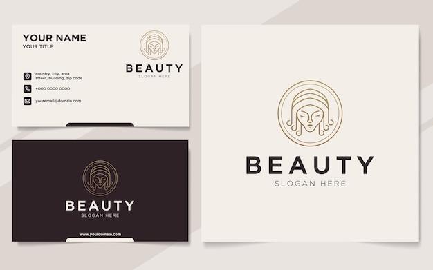 Logotipo e modelo de cartão de visita de mulheres de beleza de luxo