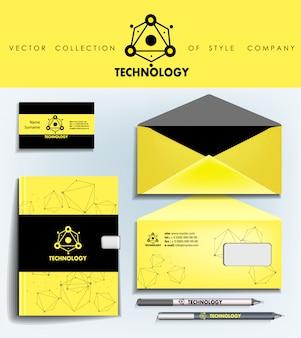 Logotipo e modelo de identidade corporativa abstrata preto e amarelo