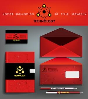 Logotipo e modelo de identidade corporativa abstrata preto e vermelho