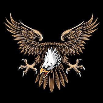 Logotipo e vetor de águia vintage