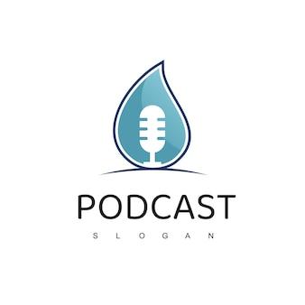 Logotipo eco podcast com microfone e ícone de gota