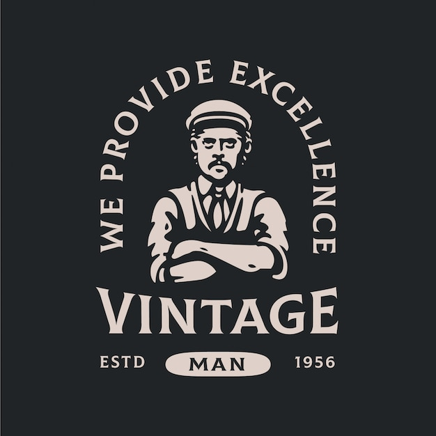 Logotipo editável vintage man