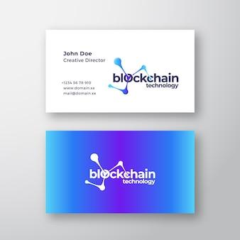 Logotipo elegante abstrato da tecnologia blockchain