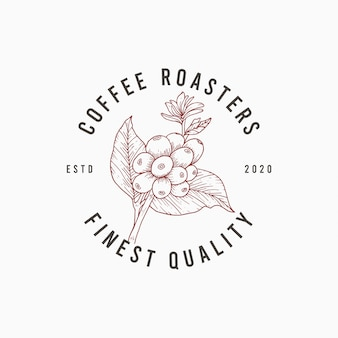 Logotipo elegante café desenhado à mão modelo de design premium