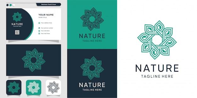 Logotipo elegante com arte de linha e modelo de logotipo e cartão de visita minimalista