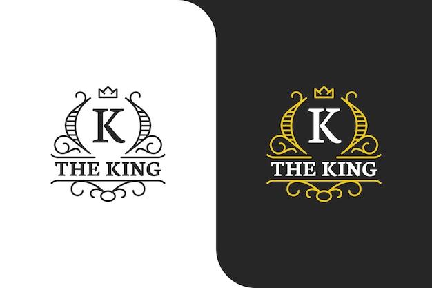 Logotipo elegante com letra k em ouro