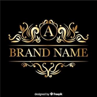 Logotipo elegante com ornamentos retrô