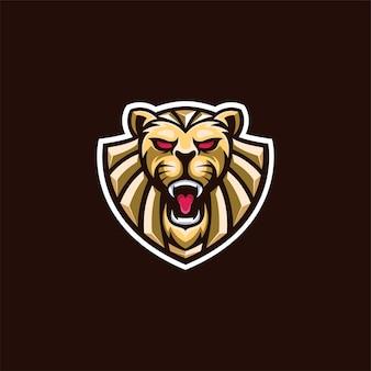 Logotipo elegante da cabeça de leão dourado