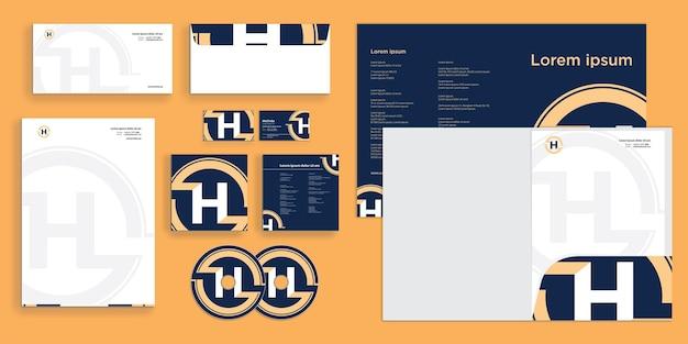 Logotipo elegante da letra h do círculo. identidade corporativa moderna estacionária
