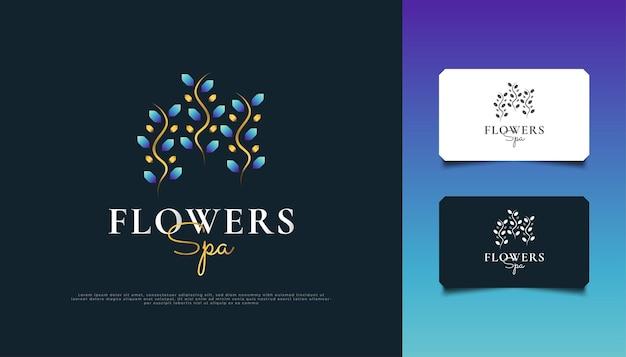 Logotipo elegante das flores azul e dourado. logotipo de ornamento de folha floral de luxo