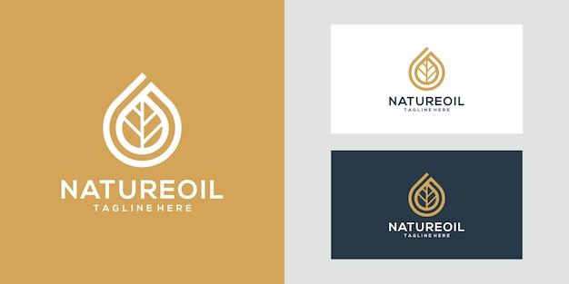 Logotipo elegante de azeite e folha