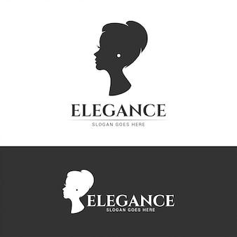 Logotipo elegante de menina bonita de elegância
