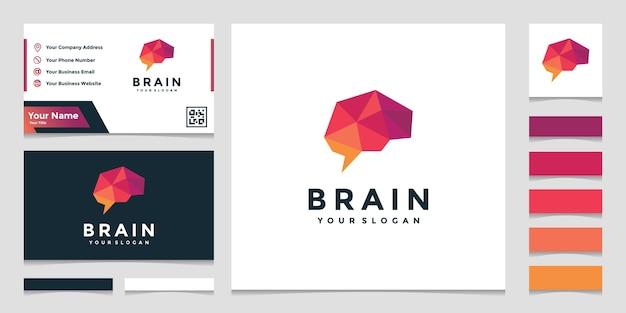 Logotipo elegante do cérebro colorido com design de cartão de visita