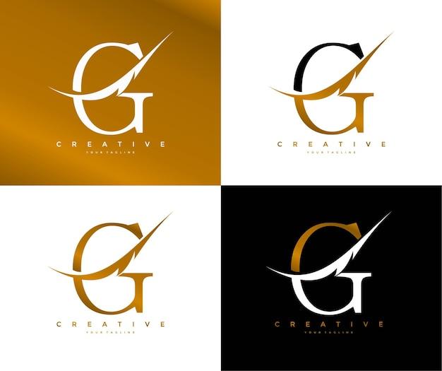 Logotipo elegante do símbolo da pena swoosh ligado à letra g