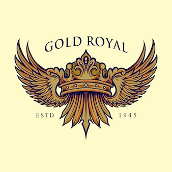 Logotipo elegante golden royal crown