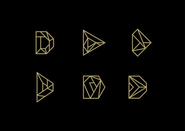 Logotipo elegante letra d luxo