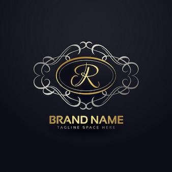 Logotipo elegante letra r no estilo floral