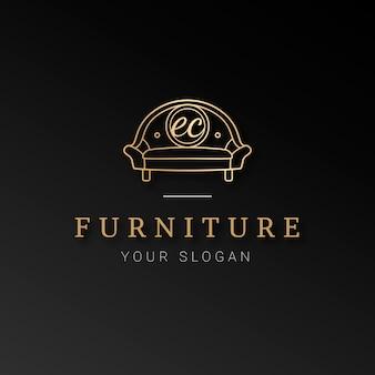 Logotipo elegante mobiliário dourado