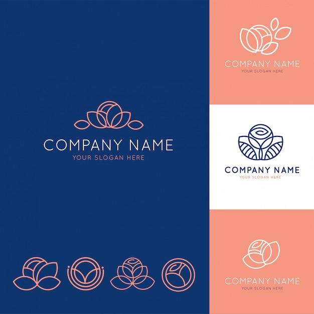 Logotipo elegante para o negócio de flores azul e rosa