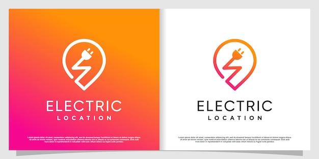 Logotipo elétrico com conceito de localização de pino premium vector