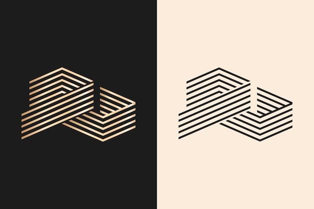 Logotipo em estilo abstrato de duas versões