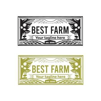 Logotipo em forma de carimbo retangular para a fazenda. logotipo monocromático com imagem de árvores cítricas