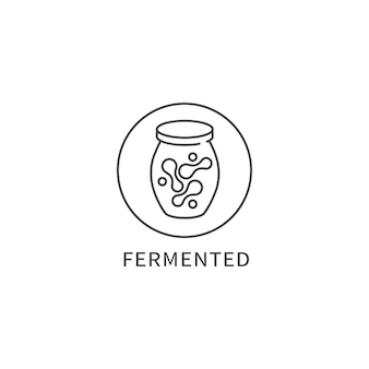 Logotipo, emblema ou ícone da linha de vetor - alimentos fermentados. símbolo de uma alimentação saudável.