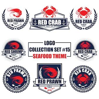 Logotipo, emblema, símbolo, ícone, coleção de design de modelo de rótulo definido com tema de frutos do mar