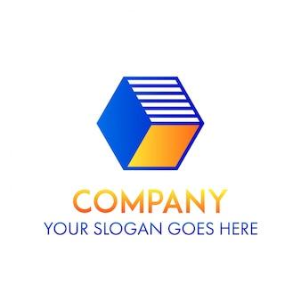 Logotipo empresa empresa cubo forma conceito