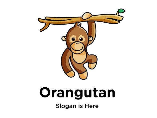 Logotipo engraçado da mascote do orangotango