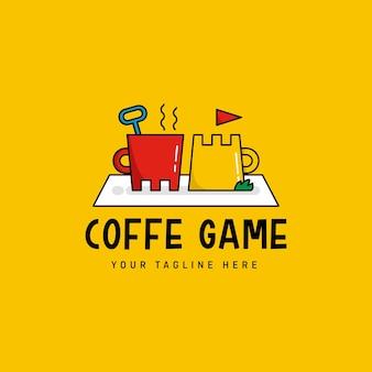 Logotipo engraçado do coffe com conceito de placa e playground