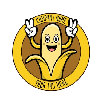Logotipo engraçado do personagem de banana