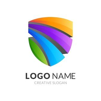 Logotipo escudo abstrato com estilo 3d colorido