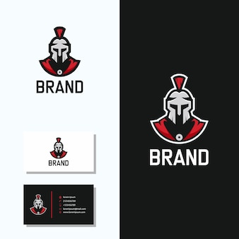 Logotipo espartano com design de logotipo de cartão