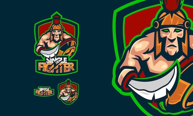 Logotipo espartano com ilustração do mascote do vetor premium do jogo de espadas